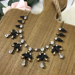 J.Crew Black Gold Crystal Statement Necklace